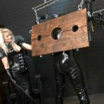 Mistress In Scene: Mature blonde Mistress in sexy latex outfit punishing her latex slave in various ways including nipple clamps and using the single tail on his ass – FEMDOMLOFT – HD/720p/MP4