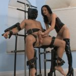 Mistress In Scene: Suspended slave is teased by latex brunette Mistress giving him a femdom handjob along with squeezing his balls – FEMDOMLOFT – HD/720p/MP4