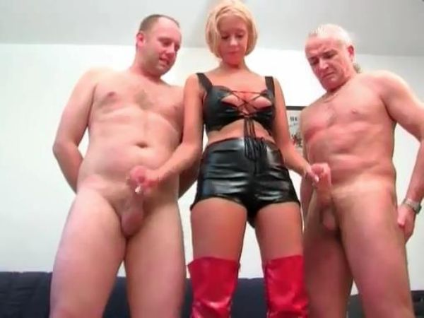 Mistress In Scene: Controlling Mistress jerks off and milks two slaves until she gets their cum - FEMDOMLOFT - LQ/384p/MP4
