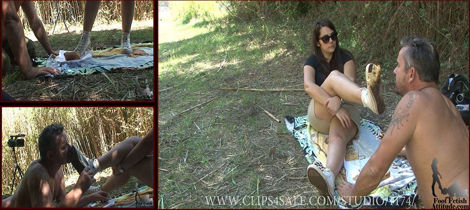 Mistress Lea In Scene: Slave feeding under old converse - FOOTFETISHATTITUDE - SD/576p/WMV