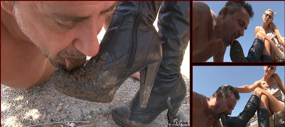 Mistress Kitty In Scene: Dirty boots cleaning by a lucky - FOOTFETISHATTITUDE - SD/576p/WMV