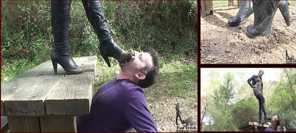 Mistress Kitty In Scene: Disgusting muddy boots cleaning - FOOTFETISHATTITUDE - SD/576p/WMV