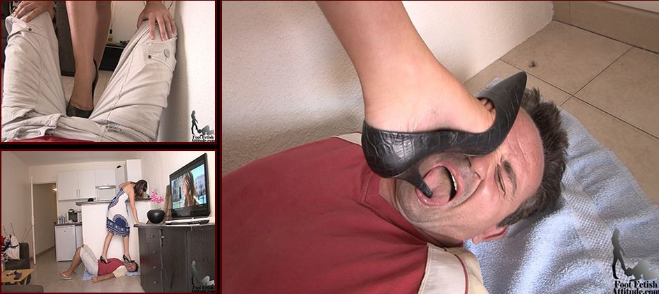 Mistress Lydie In Scene: High heel trample for a bad house slave - FOOTFETISHATTITUDE - SD/576p/WMV