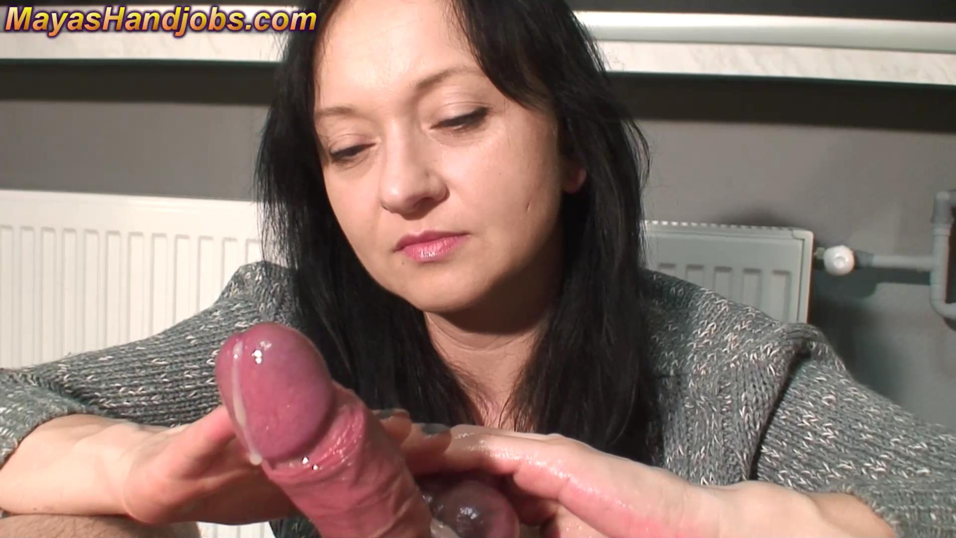 Mistress Maya In Scene: Slow and sensitive cock jerking and licking - 2 cumshots - MAYASHANDJOBS - FULL HD/1080p/MP4