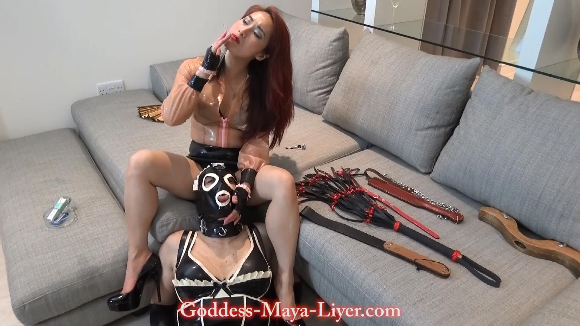 Goddess Maya Liyer In Scene: Nervous Latex Maid in training - REAL-FEMDOM-CLIPS - FULL HD/1080p/MP4