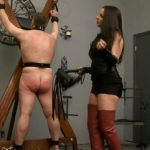 Mistress In Scene: Suspended slave has the honor of being paddled and bullwhipped by hot Mistress in thigh high boots and skimpy outfit – WOMENWHOPUNISH – HD/720p/MP4