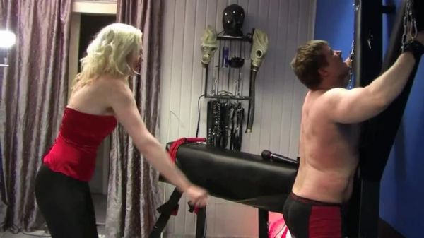 Strict Mistress In Scene: Strict blonde Mistress canes her suspended slave and uses the pinwheel and her spiked heels to further mark his flesh - WOMENWHOPUNISH - SD/576p/MP4