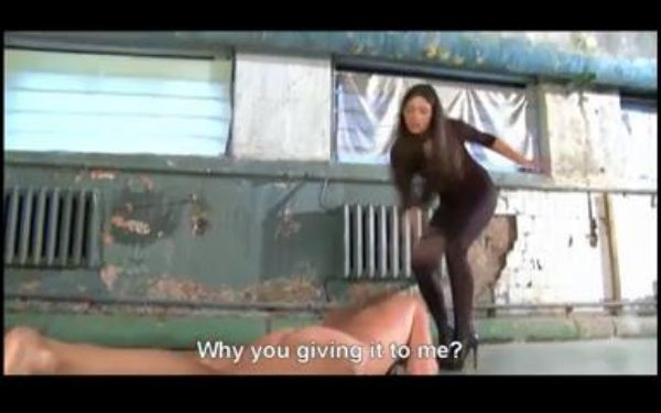 Brunette Domme In Scene: Playful brunette Domme whips her submissive before he is rewarded with some barefoot trampling and worship - WOMENWHOPUNISH - LQ/240p/MP4