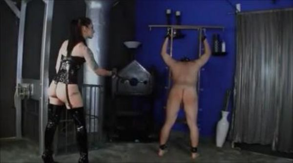 Mistress In Scene: Male secured with cuffs receives a bullwhipping marking his ass all over by Mistress in thigh high, high heel boots - WOMENWHOPUNISH - LQ/238p/MP4