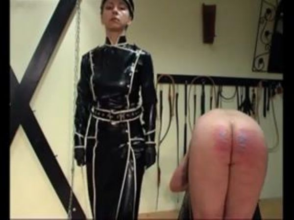 Mistress In Scene: Male is bent over on the bench so that his strict Mistress in latex outfit and hat can severely cane and bruise his ass - WOMENWHOPUNISH - LQ/240p/MP4