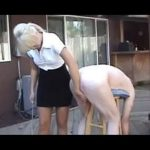 Mature Mistress In Scene: Mature blonde disciplinarian in skirt and blouse ties up a male on a wooden stool and canes his sorry ass – WOMENWHOPUNISH – LQ/240p/MP4