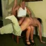 Strict blonde dominant wife puts her man over her knee and administers a hard spanking on his ass – WOMENWHOPUNISH – LQ/240p/MP4