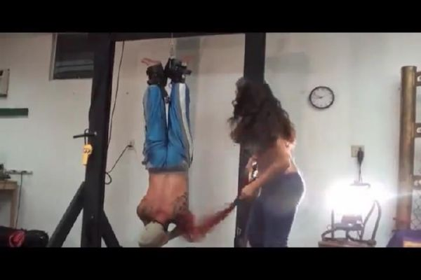 Domestic domme in jeans ties her man upside down and delivers a hard whipping - WOMENWHOPUNISH - SD/480p/MP4