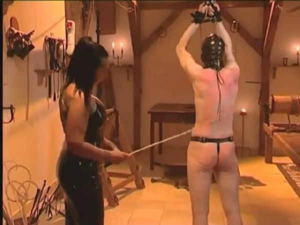 Mistress ties up her slave and canes his ass and whips him with a branch of a rose bush - WOMENWHOPUNISH - SD/480p/MP4