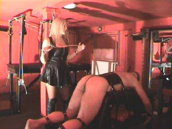 Blonde Mistress scolds tied down slave while caning his ass over and over - WOMENWHOPUNISH - SD/480p/MP4