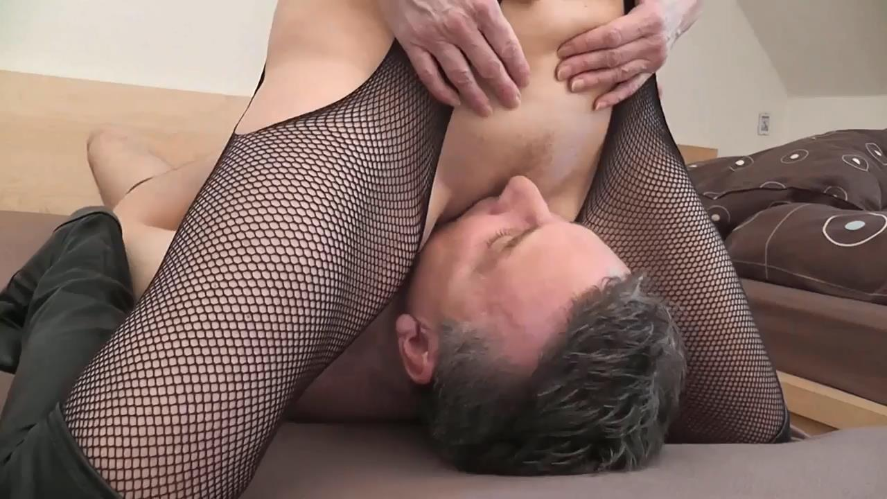 Older blonde dominant woman in fishnets and boots - BENEATHHER - HD/720p/MP4