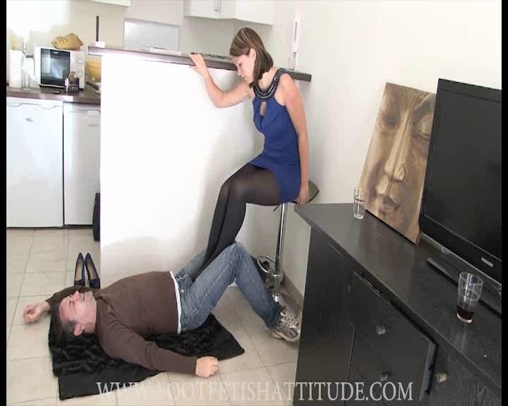 Mistress Lydie In Scene: Sexy and brutal stocking feet trampling - FOOTFETISHATTITUDE - SD/576p/WMV
