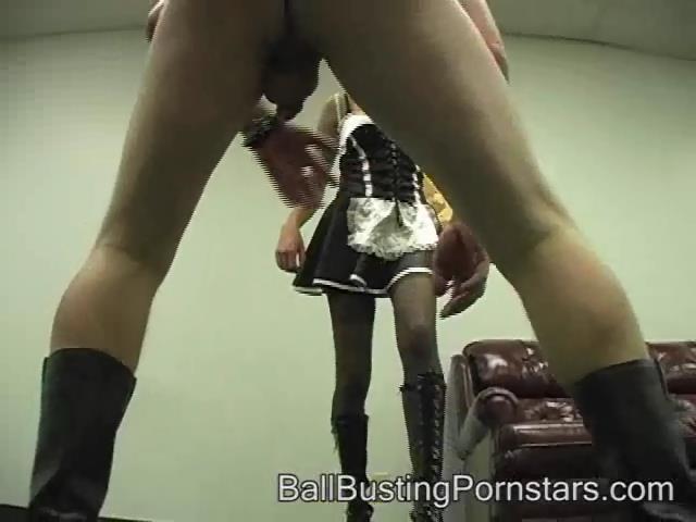 Amber Skyy In Scene: French Maid Ballbuster! The Ballbusting Handjob - BALLBUSTINGPORNSTARS - SD/480p/WMV