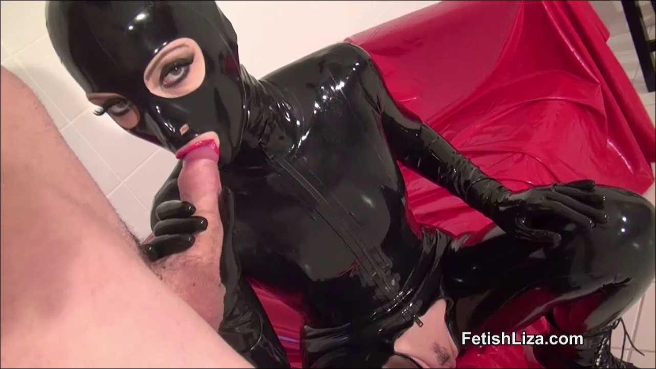 Fetish Liza In Scene: Full latex hooded handjob - FETISHLIZA - HD/720p/MP4