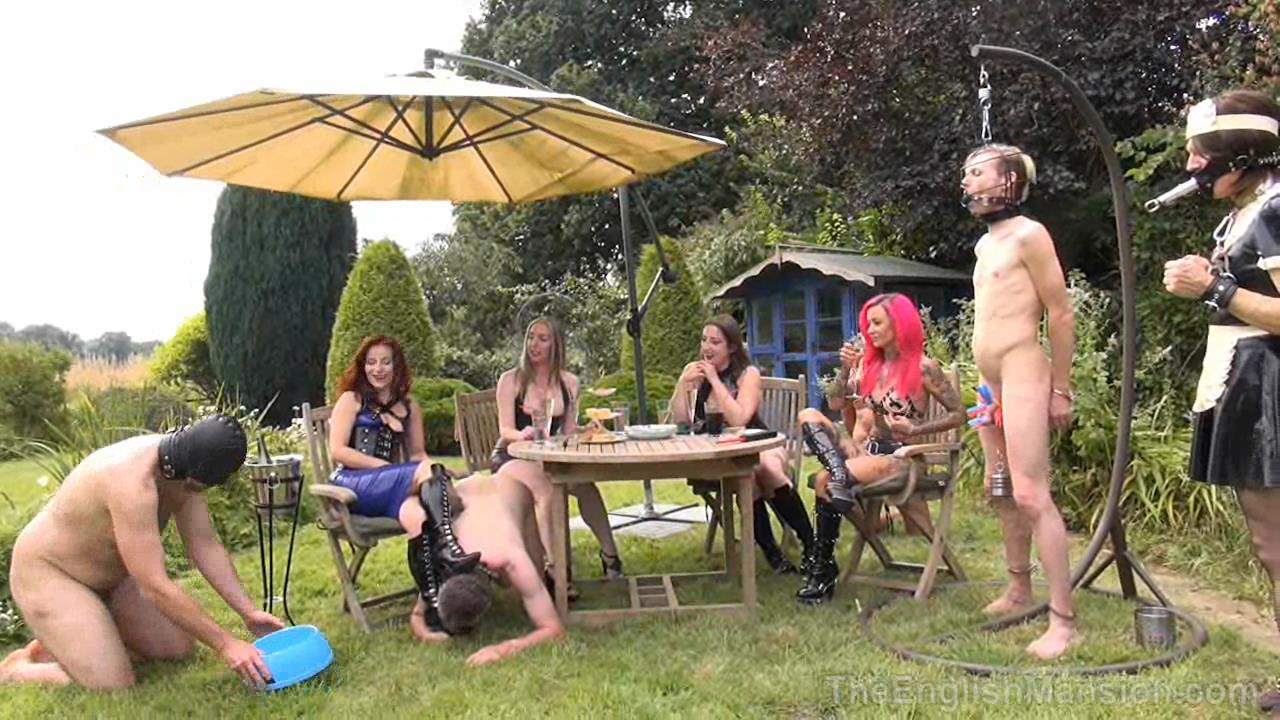 Miss Annalieza, Mistress Evilyne, Mistress Lola Ruin, Mistress Sidonia In Scene: The Mansion's Summer Garden Party Pt1 - THEENGLISHMANSION - HD/720p/WMV