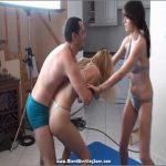 Rita (Hungary, 5′ 7″ 120 lbs.) & Jasmine (Hungary, 5′ 8″ 110 lbs.) Vs. Michael (Israel, 5'9″, 160 lbs.) – MIXEDWRESTLINGZONE – SD/576p/WMV