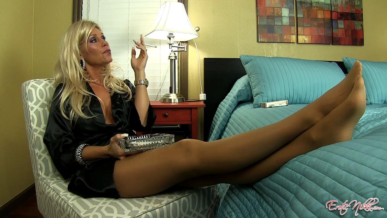 Erotic Nikki Ashton In Scene: Satin, Smoke and Pantyhose - EROTICNIKKI - HD/720p/MP4