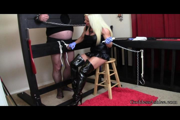 Goddess Ashlee Chambers In Scene: Slave tied up in Stock, using Sounding on his Cock Part 2 - GODDESSASHLEE / ASHLEECHAMBERS - SD/480p/MP4