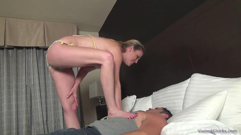 Mistress Daisy Layne In Scene: Daisy is having fun with her sub by trampling and humiliating him - VIOLENTCHICKS - SD/540p/MP4