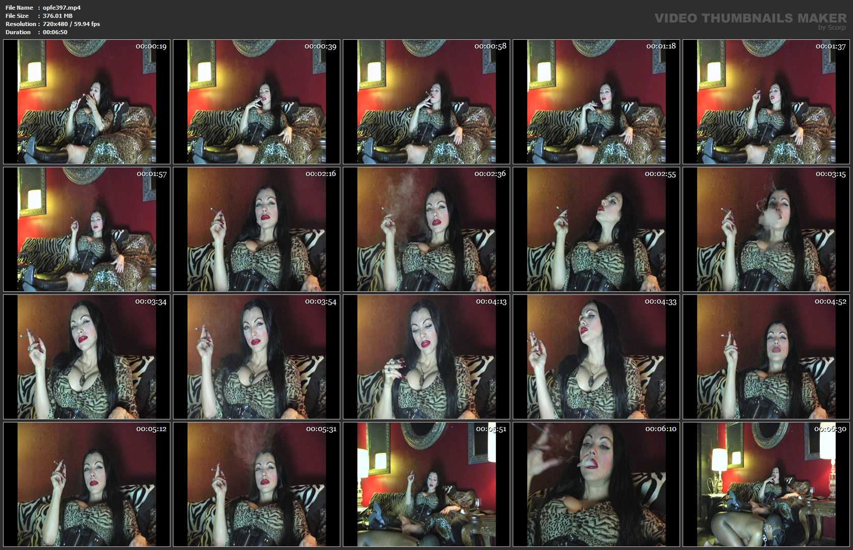 Goddess Cheyenne In Scene: Smoking on human ottoman - OPULENTFETISH / GODDESSCHEYENNE - SD/480p/MP4