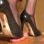 Rough femdom shoejob under black spiked heel pumps and black nylon feet – TRAMPLINGWORLD – LQ/240p/MP4
