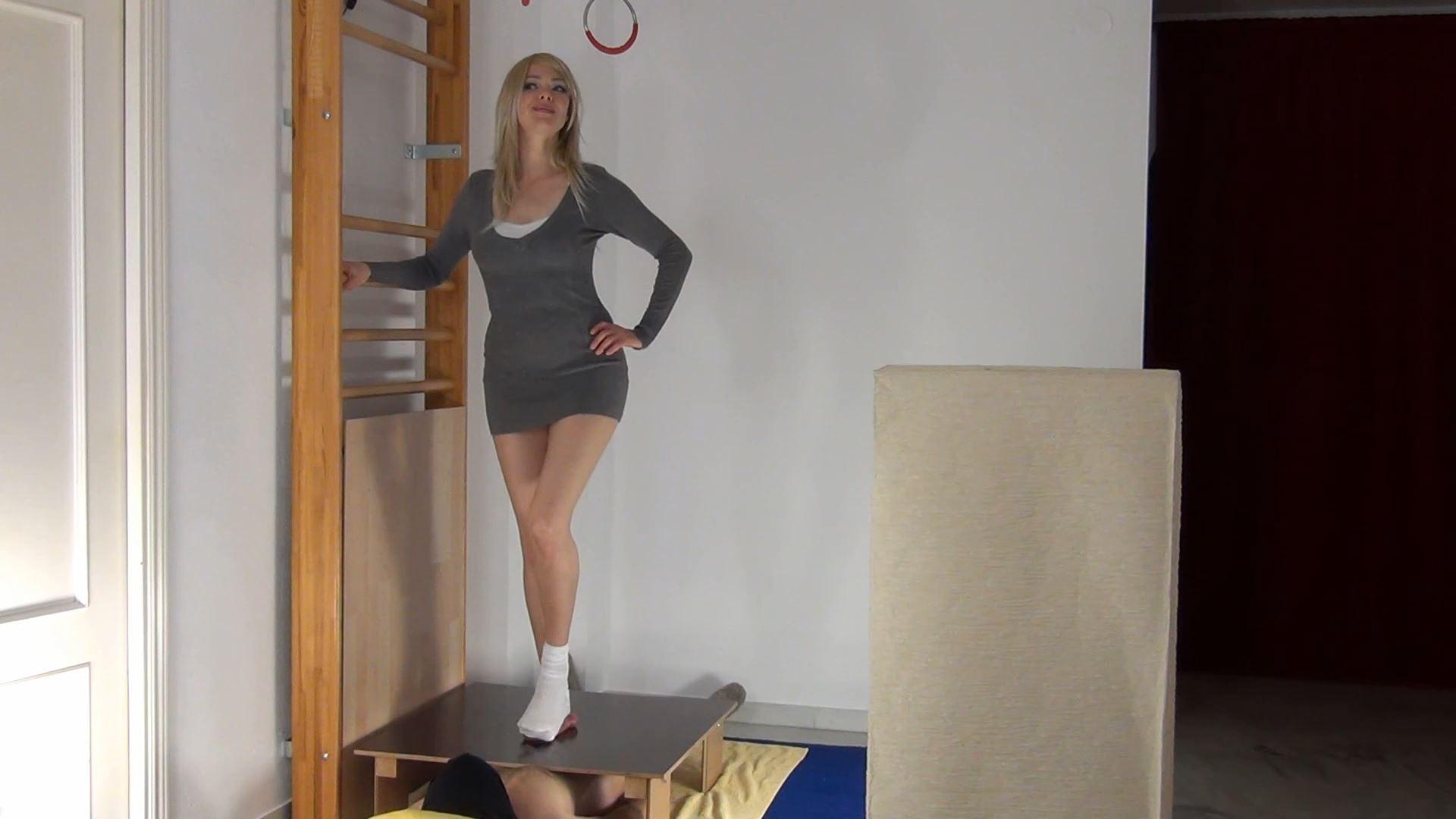 Alina In Scene: Alina Trampled Nuts under White Socks - CBTRAMPLE - FULL HD/1080p/MP4