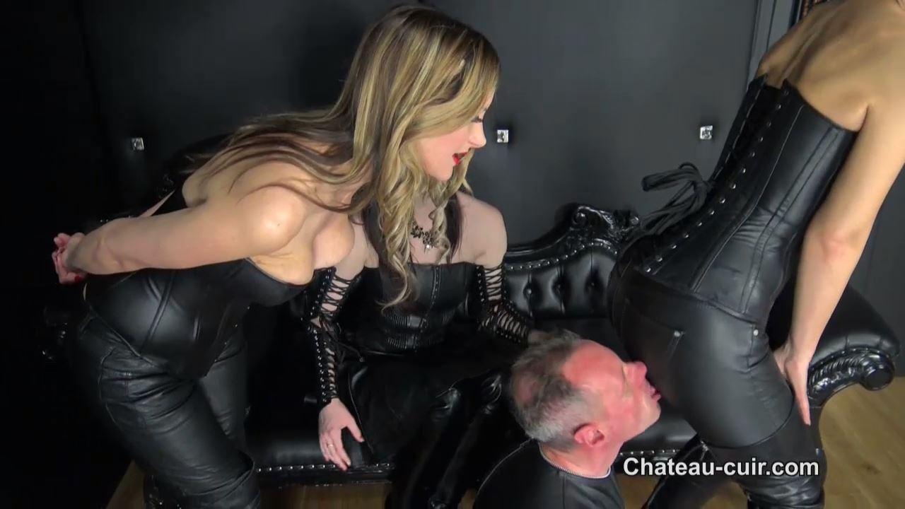 Fetish Liza, Nikki Whiplash, Vivienne L'amour In Scene: Triple leather worship - CHATEAU-CIUR - HD/720p/MP4
