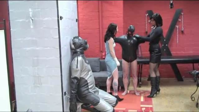 Lady Joy van Doren, Annika Bond In Scene: Breathing control with the gas mask slave - ERONITE-FEMDOM - LQ/360p/MP4