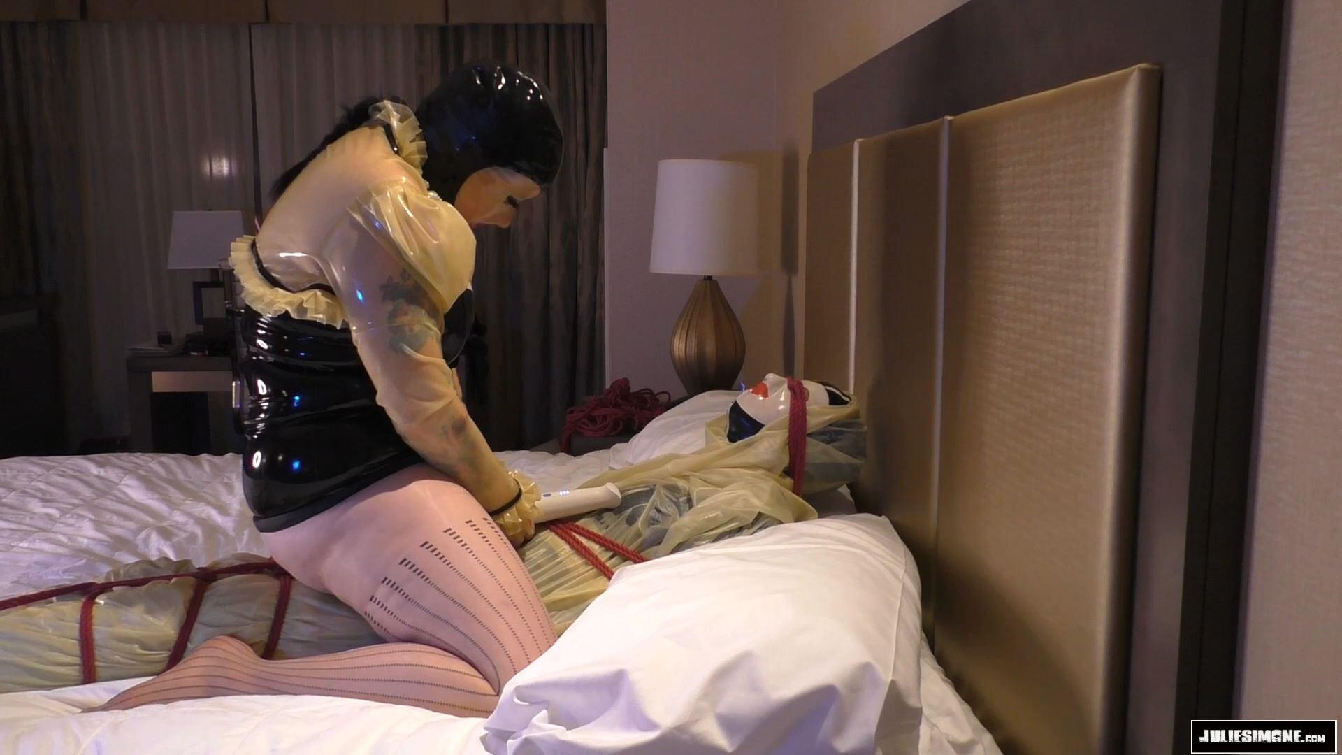 Julie Simone In Scene: Rubber Lover Part 2 Bound Orgasm Race - JULIESIMONE - FULL HD/1080p/MP4