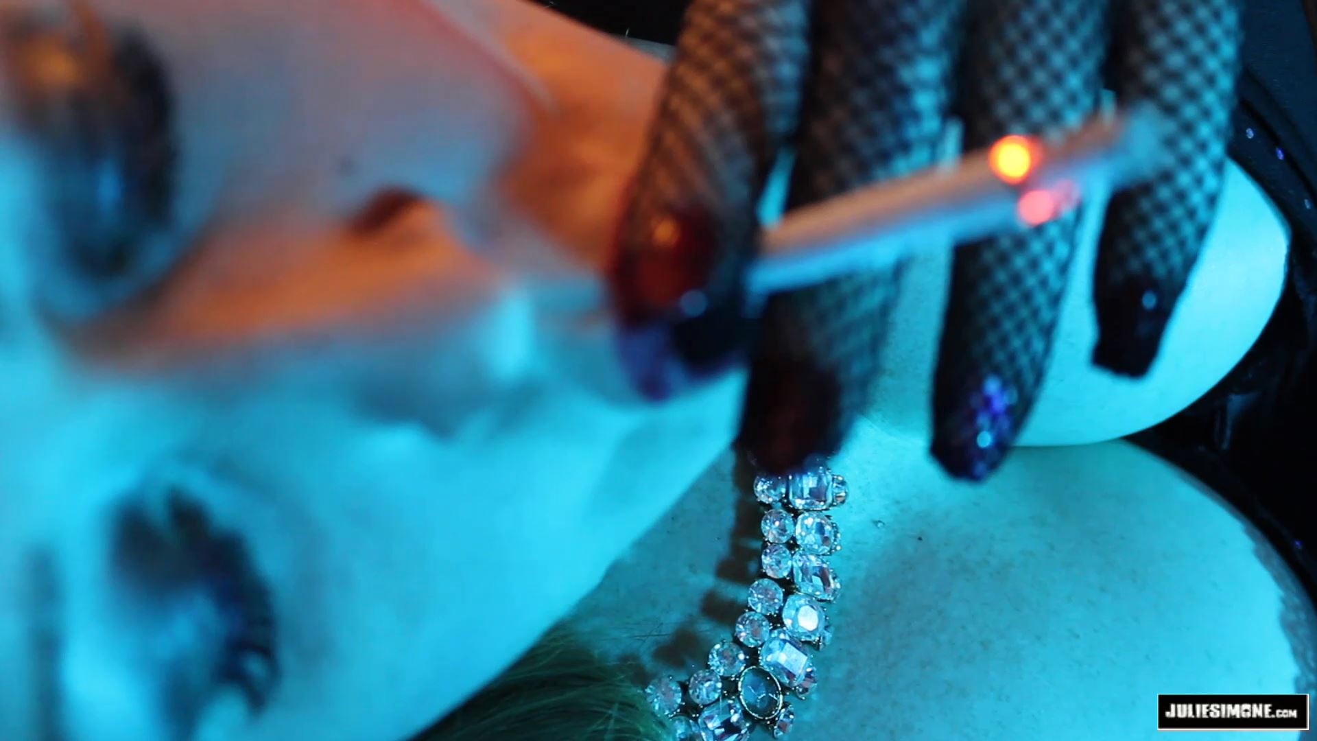 Julie Simone In Scene: Smoking Dunhills in Fishnet Gloves - JULIESIMONE - FULL HD/1080p/MP4