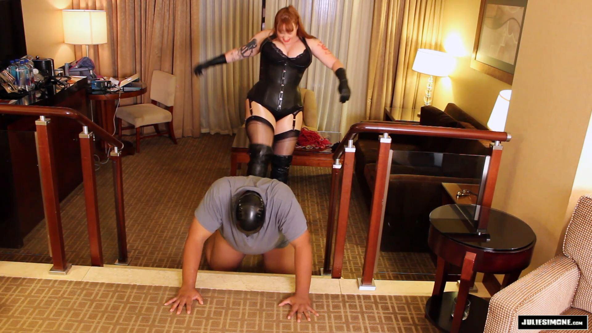 Julie Simone In Scene: Ballbusting Leather Boots w Stockings - JULIESIMONE - FULL HD/1080p/MP4
