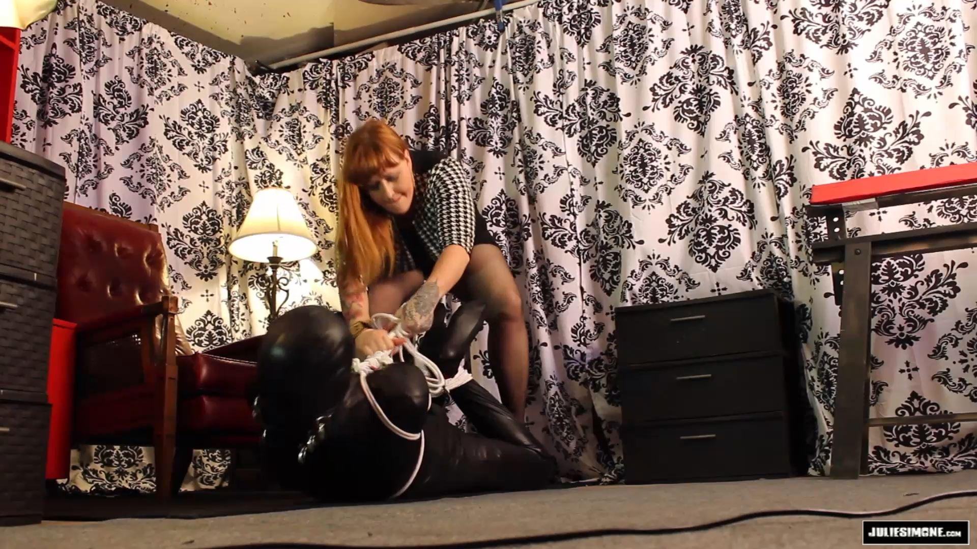 Julie Simone In Scene: Hogtied Zentai White Rope - JULIESIMONE - FULL HD/1080p/MP4