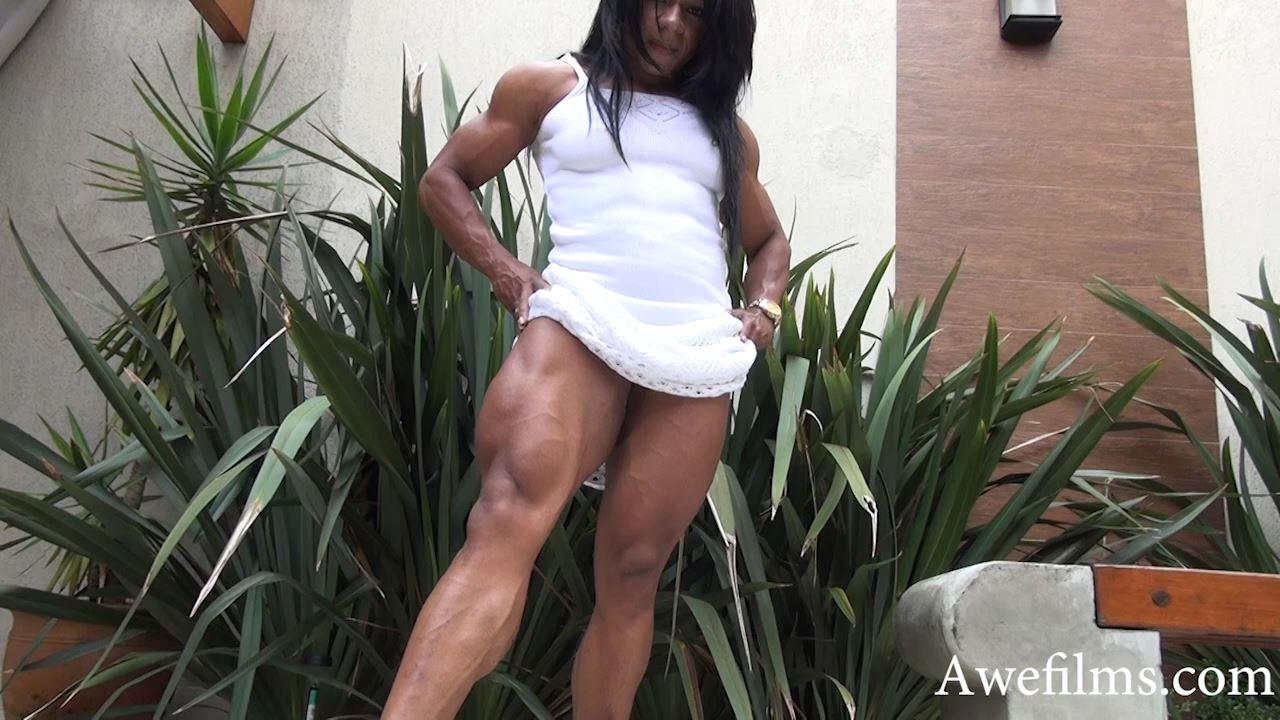 GRACE KELLY BOM BOM In Scene: White Dress Muscle Flex Part 2 - AWEFILMS - HD/720p/MP4