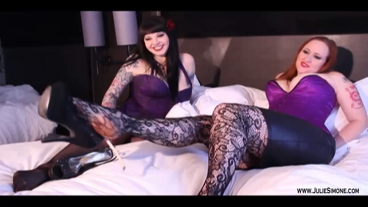 Maya Sinstress, Julie Simone In Scene: Pantyhosed Feet High Heel Dangle - JULIESIMONE - HD/720p/MP4