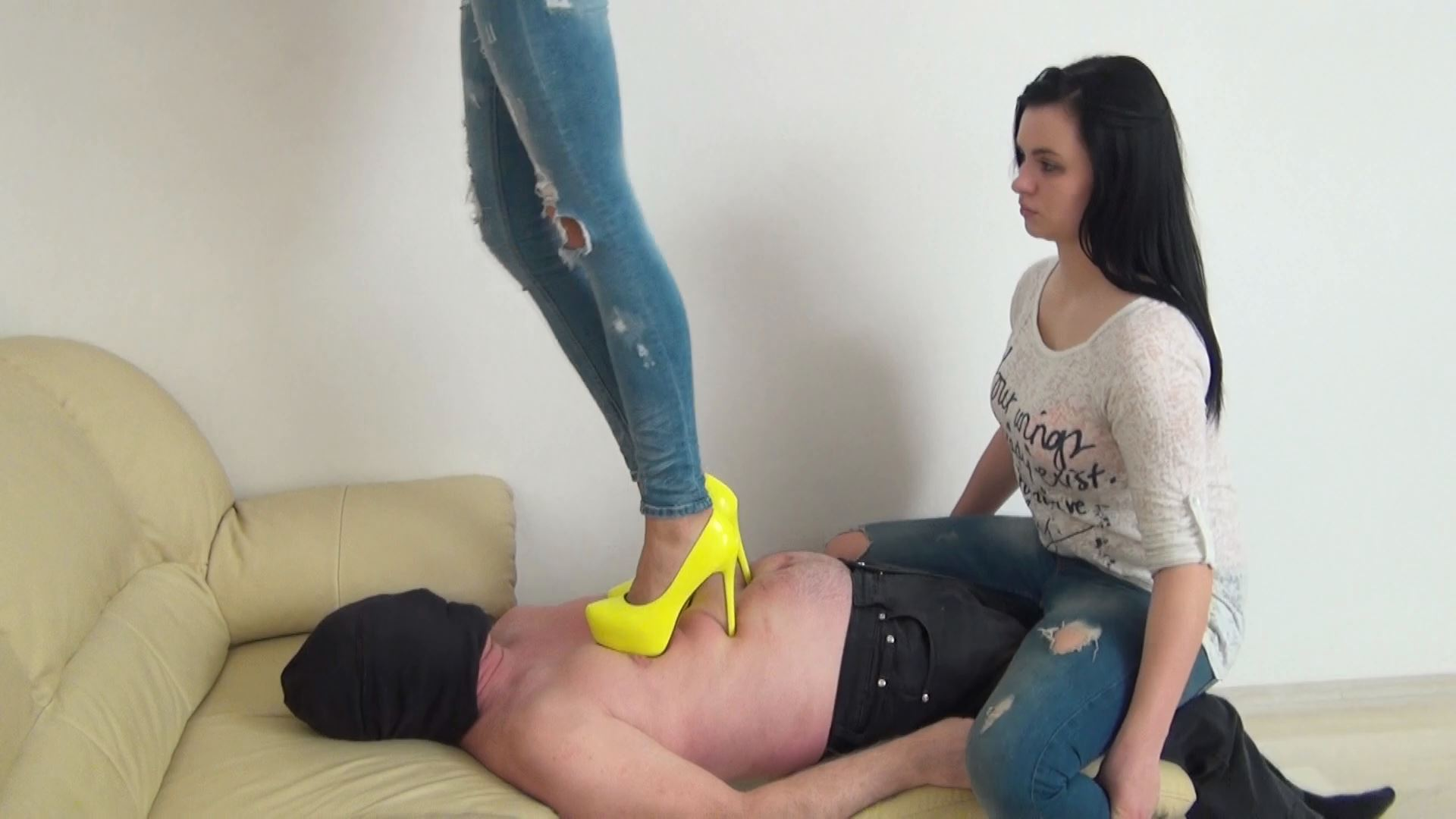 Mistress Sandy In Scene: Trampling in EXTREME high heels on human bridge - ABBIECATFETISH - FULL HD/1080p/MP4