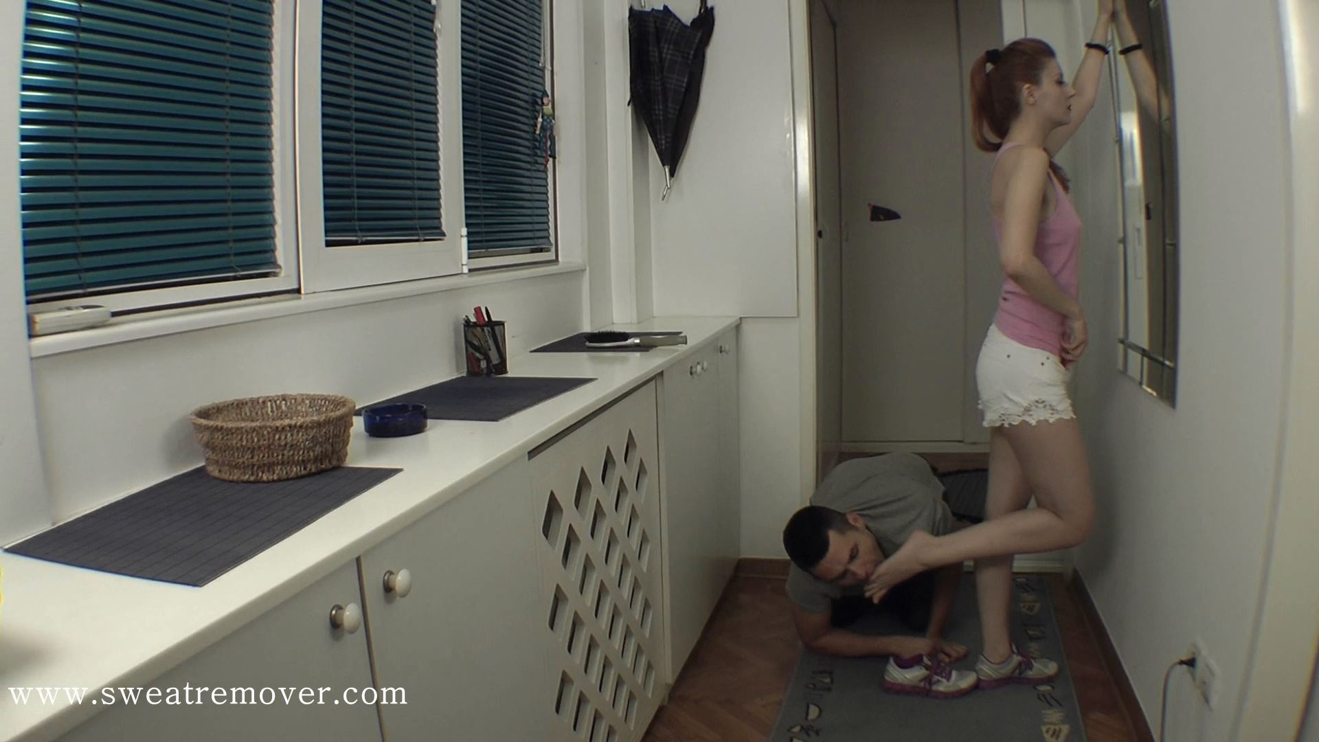Goddess Victoria In Scene: I have a strange feeling that my feet are stinky - lay down and check it, slut - SWEATREMOVER - FULL HD/1080p/MP4