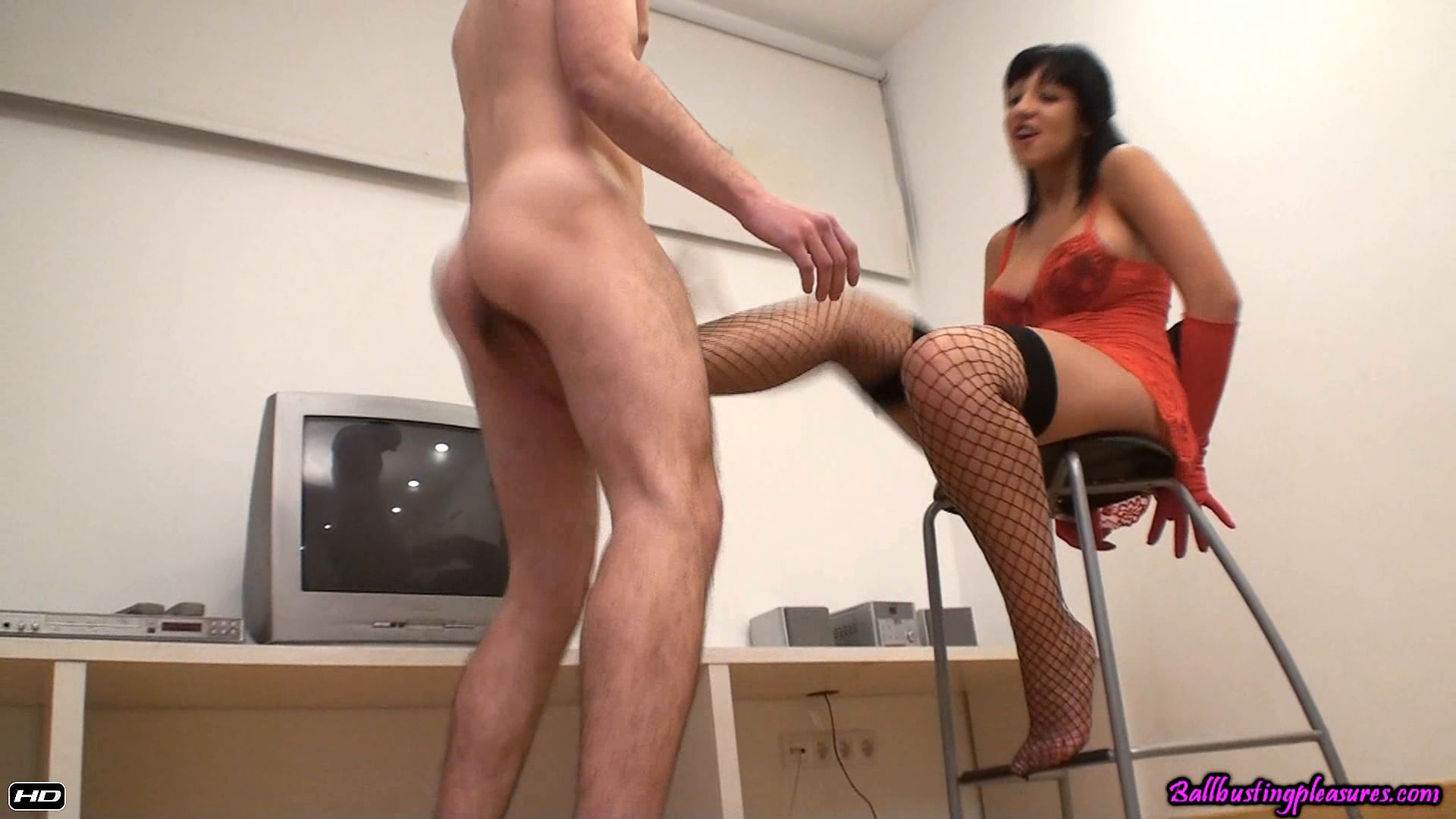 Goddess Hannah In Scene: Hard Ballbusting in Red - BALLBUSTINGPLEASURES - FULL HD/1080p/MP4