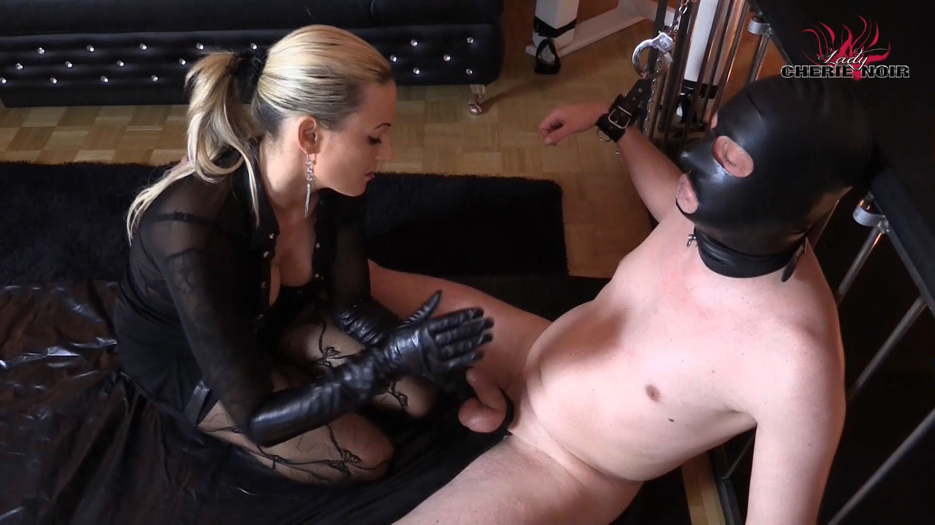 CHERIE NOIR In Scene: Leather CBT Cock torture and long leather gloves - CHERIENOIR - FULL HD/1080p/MP4
