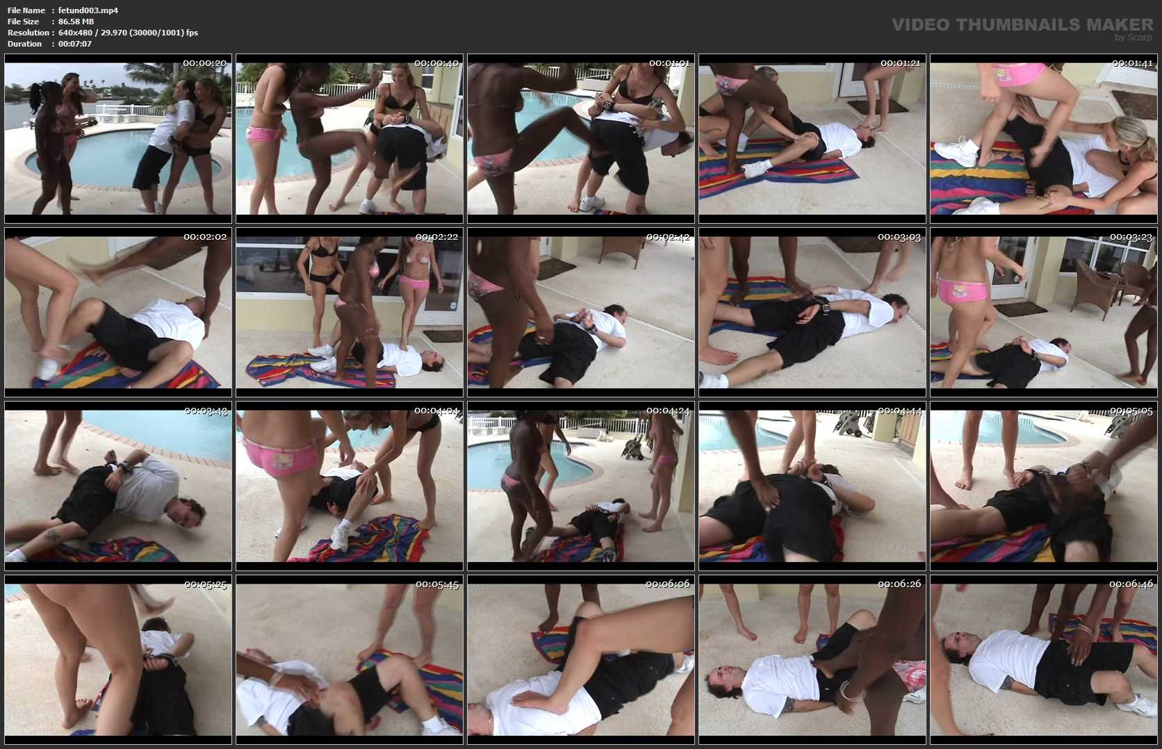 3 Girl PoolsideBeating - FETISHUNDERWORLD - SD/480p/MP4