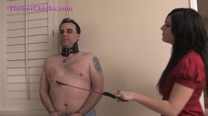 Mistress Amelia In Scene: Amelia makes her slave balance her high heel shoe on his head - VIOLENTCHICKS - SD/480p/MP4