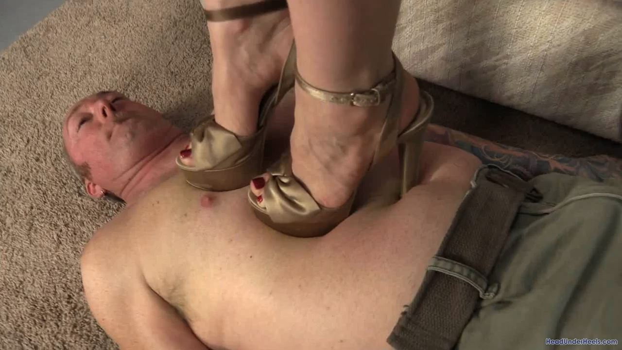 His punishment: brutal trample with stiletto heels - HEADUNDERHEELS - HD/720p/MP4