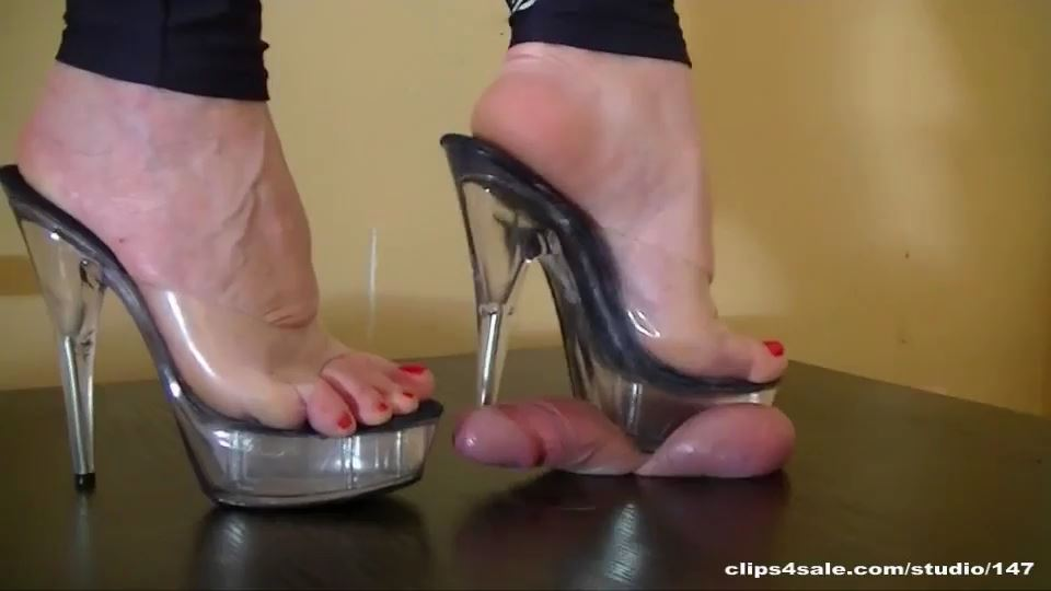 Mistress Arletta In Scene: TRANSPARENT HIGH HEELS - ABALLS AND COCK TRAMPLE - SD/540p/MP4