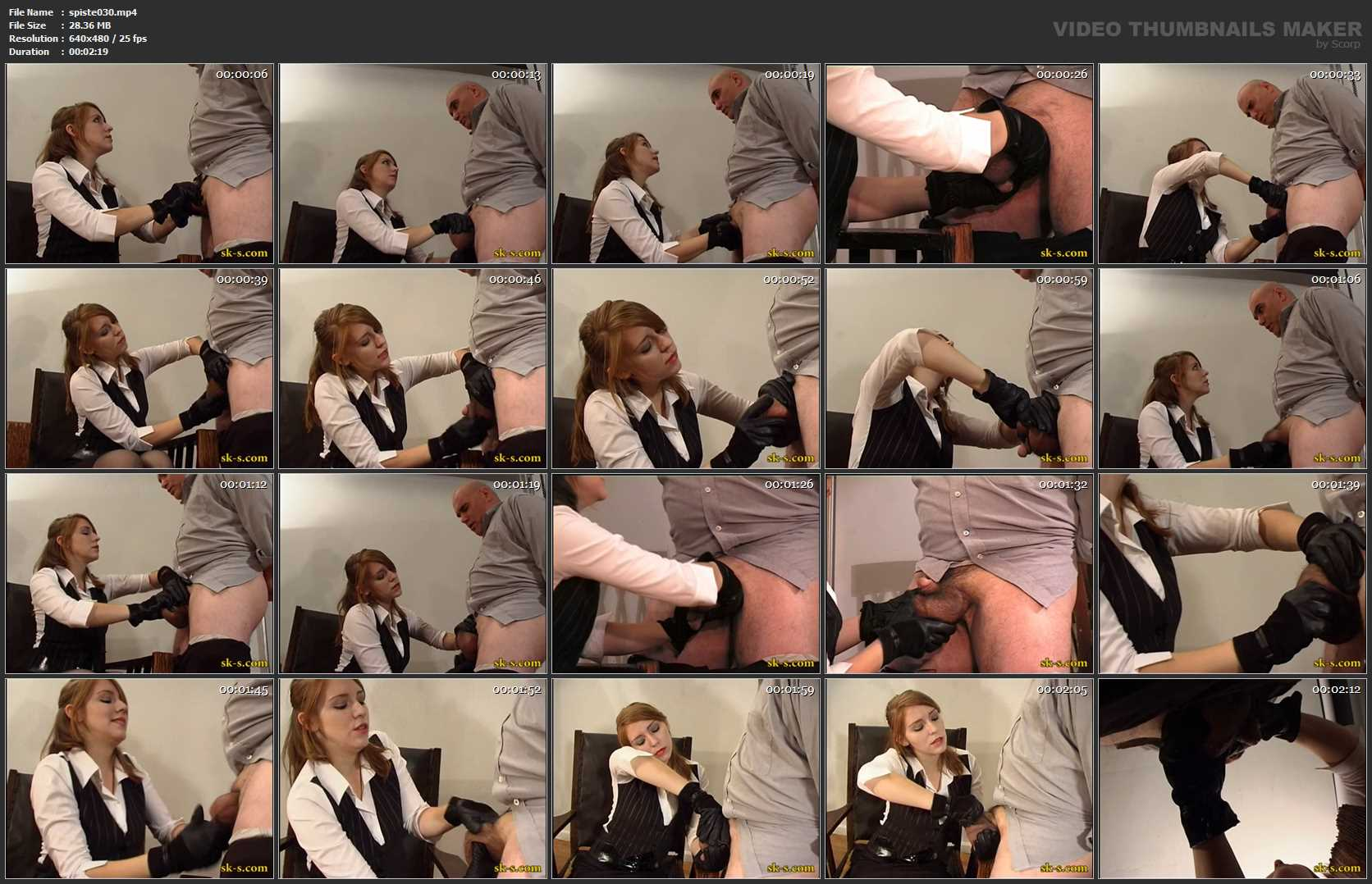 Business Girl In Scene: Balls Squeezing Gloves - SPIKEYSTEP VIDEO PRODUCTIONS - SD/480p/MP4
