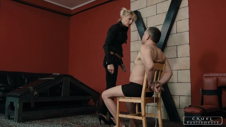 Mistress Bonnie In Scene: Huge slaps and cigarette ash - CRUEL PUNISHMENTS - SEVERE FEMDOM - SD/406p/MP4