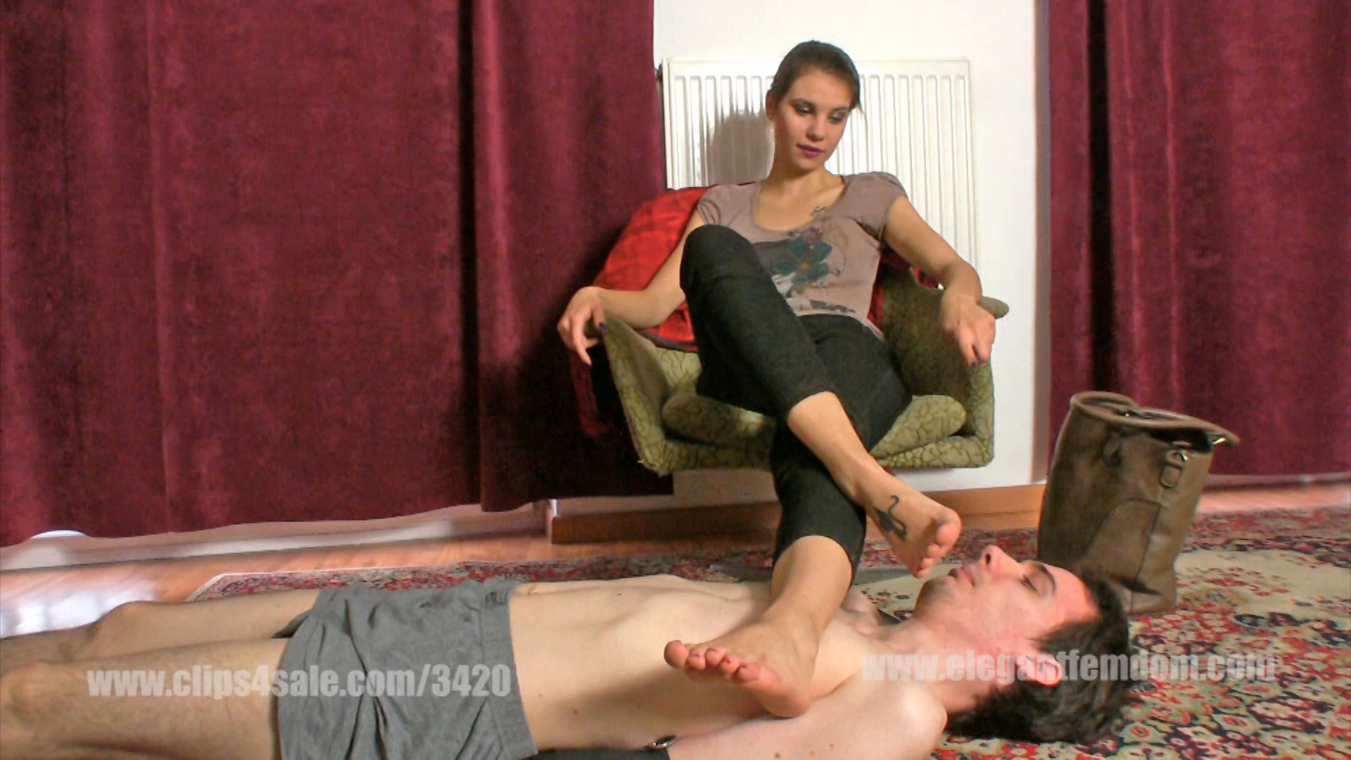 Lady Lucy orders the slave to take her smelly warm socks off - ELEGANTFEMDOM - FULL HD/1080p/MP4